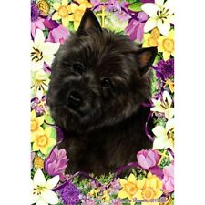Easter House Flag - Black Cairn Terrier 33327