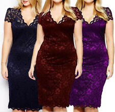 Womens Ladies Bodycon Midi Lace Pencil Cocktail Party Evening Dress UK16-22