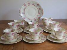 Vintage Royal Doulton Porcelain Art Deco Tea Set Pink Flower 6 Tea Cup Trio 2104