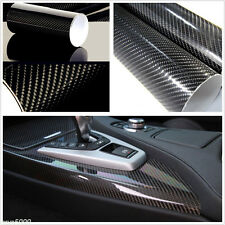 "5D Ultra Shiny Gloss Glossy Black Carbon Fiber Vinyl Wrap Sticker Decal 12""x60"""