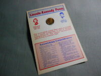 """1974 Lincoln Kennedy Inset Cent Penny Coincidences 4""""x 6"""" Card (more defects)"""