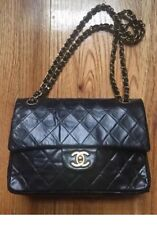 Auth Vintage CHANEL 2.55 Black Lambskin SMALL Double Flap Bag Gold HW