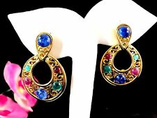 TRIFARI TM SAPPHIRE RUBY EMERALD CABOCHON MOGHUL JEWELS OF INDIA CLIP EARRINGS