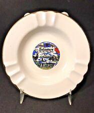 Vtg Delaware Blue Hen State Souvenir Porcelain Ashtray Gold Rim Capsco USA EUC