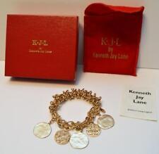 "New Original Box Signed KJL Goldtone Dangle Round Charms 2 1/2"" Elastic Bracelet"
