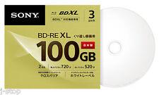 3 Sony Blu Ray 100GB Rewritable BD-RE BDXL Disc Inkjet Printable Bluray