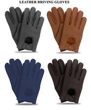 Men's Classic Driving Gloves Genuine Real Soft Lambskin Leather Mesh Gloves -NEW