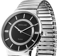 Damen Armbanduhr Schwarz/Silber Zugarmband Stretcharmband von Excellanc 1700012