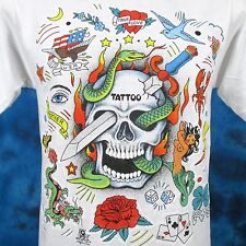 Nos vintage 80s Tattoo Skull Art T-Shirt Small mermaid cartoon dragon biker thin