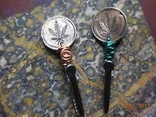Wheat Penny Cannabis Leaf Reefer Hand Engraved Crafted Wrapped Roach Clip