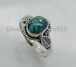 Blue Copper Turquoise Gemstone Handmade Ring For Women 925 Silver Boho ring gift