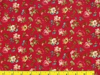 Red White & Yellow Roses w/ Blue Flowers on Red Quilting Fabric by Yard  #593