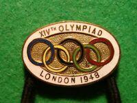 original London 1948 summer Olympics Enamelled button hole badge XIVth Olympiad