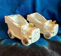 2 Vintage Porcelain Small Car Planter Attached Roses Gold Trim Made Japan 1950s