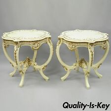 Pair of Vtg Roma Furniture French Provincial Louis XV Floral Painted End Tables