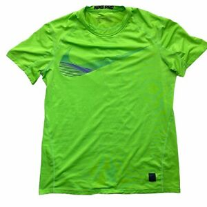 Nike PRO Dri Fit Men's Size Large Fitted Short Shirt Volt Green Neon Some Pulls