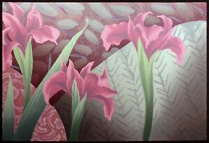 "Nancy Denison ""Kimono II"" Hand Signed Serigraph Fine Art floral pink irises OBO"