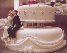 Sitting Bride and Groom Wedding Cake Topper.Ceramic.