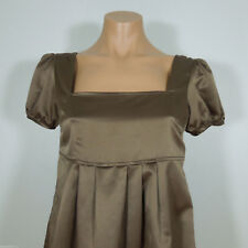 H & M Brown Satin Look Baby-Doll Blouse  size 6