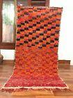 "Vintage Moroccan handmade Rug 6'5""x3' Bohemian Berber Checkered Red and Orange"