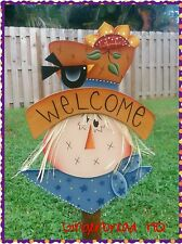 HP Wooden Welcome Scarecrow  yard stake, Autumn,  Fall, Handmade.