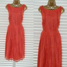 ~ MONSOON ~ Beautiful Coral Red Dress Size 18 Suit Mother of the Bride Wedding