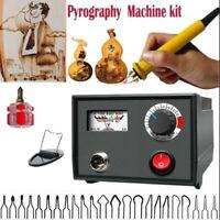 220V 60W Multifunction Wood Burning Pen Tool Pyrography Machine Set Kit Burner *