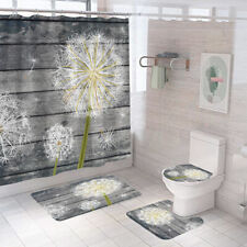 Dandelion Bathroom Rug Shower Curtain Thick Bath Mat Non-Slip Toilet Lid Cover
