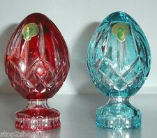 Waterford Lismore Egg Shape Crystal 2 PC Paperweight Pink/Red & Turquoise New