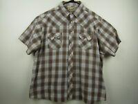 Vintage Mens Wrangler 2XL Brown Plaid Pearl Snap Sawtooth Pocket Western Shirt