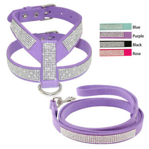 Soft Suede Full Rhinestones Diamante Pet Puppy Dog Vest Harness & Lead Chihuahua