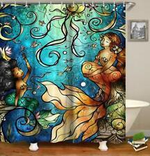 Mermaid Shower Curtain Fairy Tale Girls Fish in Ocean Bathroom curtain Decoratio