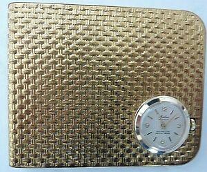Vintage *MARLOWE* Gold Tone Metal Mechanical Swiss Watch Money Clip+Storage Pouc