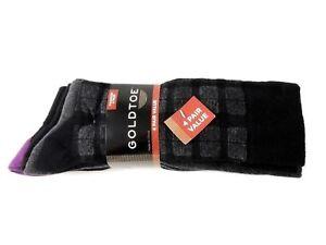 GOLD TOE Men's Casual Fashion Alpine Plaid Socks 4 Pairs 001 Black Size L