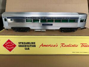 Aristocraft G Scale 32402 Baltimore & Ohio Streamline Observation Car Aluminum