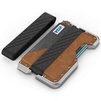 Leather Carbon Fiber Card Holder Metal Wallet Credit Clip RFID Blocking Opener
