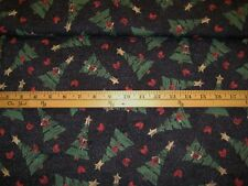 fabric Pictorial country Christmas tree on black background by the yard OOP