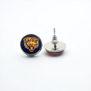 Chicago Bears NFL Glass Charm Team Logo Silver Stud Post Earrings Womens Jewelry