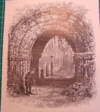 Ulverstone Cumbria Furness Abbey ruins antique print 1892