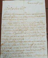 1745 167) LETTERA SU GUERRA DI SUCCESSIONE AUSTRIACA ESERCITO NAPOLETANO SAVOIA