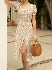 Puff Sleeve Rusched Front Split Thigh Ditsy Floral Cream Dress Midi Women's XS