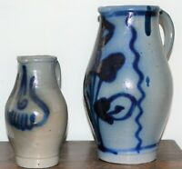 Two Vintage Blue Hand Crafted Studio Art Pottery Jugs - Largest is 25cm High