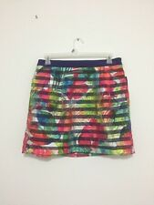 Attention Floral Multi-Color Floral Striped Elastic Waistband  Skirt XL NWT