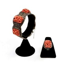 1930's Chinese Silver Filigree Coral Carved Carving Floral Bracelet & Ring Mk
