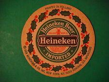 Vintage Beer Coaster ~*~ Heineken Beer Imported From Holland ~*~ Holiday Holly