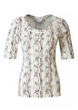 Hüftlange Kurzarm Damenblusen, - tops & -shirts ohne Kragen mit Tiermuster