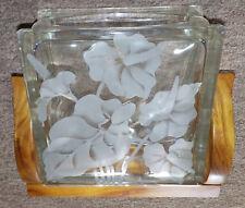 "7-3/4"" vintage etched glass anthurium block vase. hawaii hawaiian"