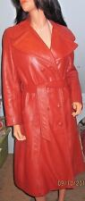 Vintage~1970s~Butterscotch~Leather~Full Length~Fitted~Coat~Leather craft~SZ LXL