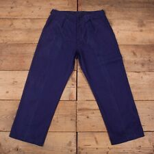"""Vintage Dark Blue Pleated French Workwear Chore Trousers 34"""" x 29Ó R18409"""