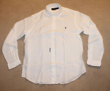 NEW Polo Ralph Lauren Big and Tall Pony Logo Classic Fit White Linen Shirt